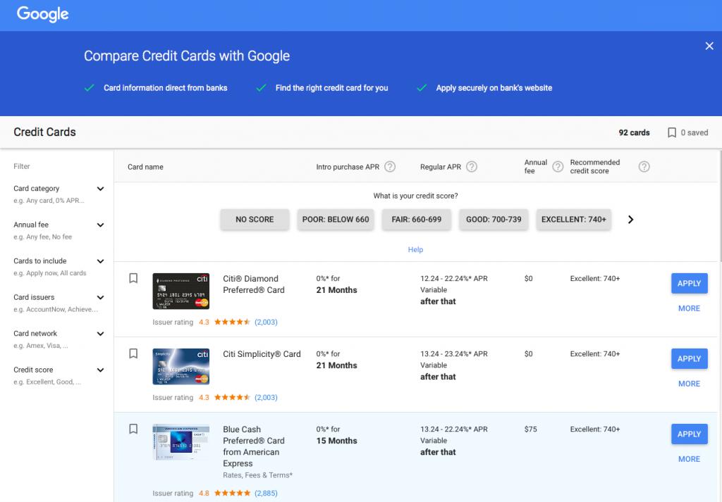 Google-Vergleich-Kreditkarte