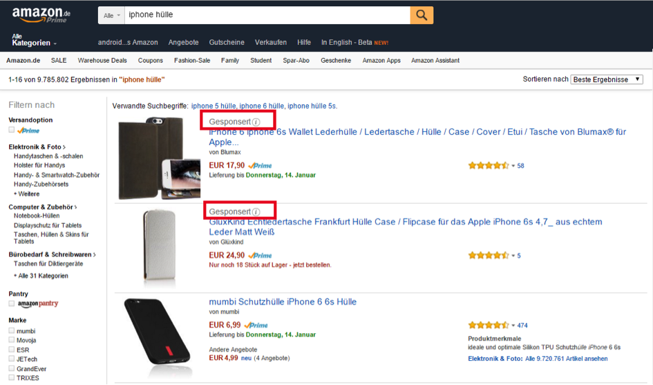 Top-2-Positionen-Amazon-Ads