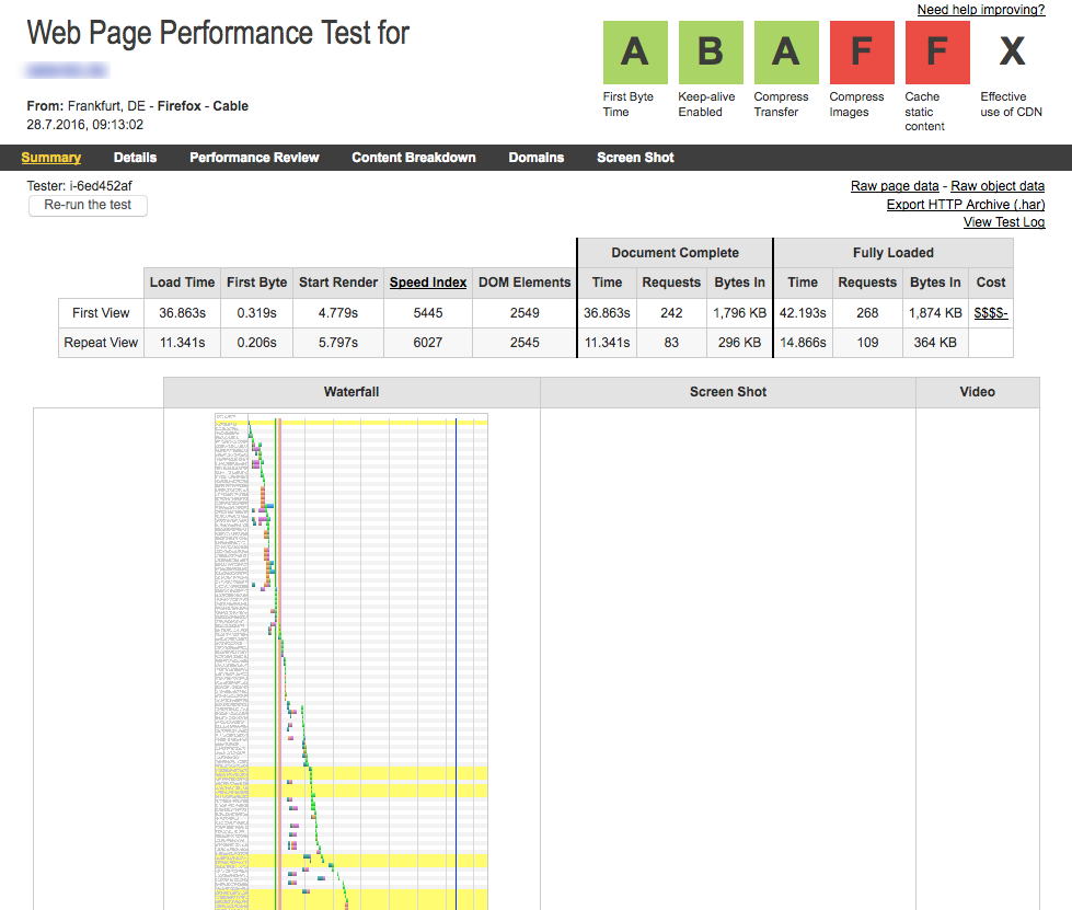Pagespeed Analyse mit webpagetest.org
