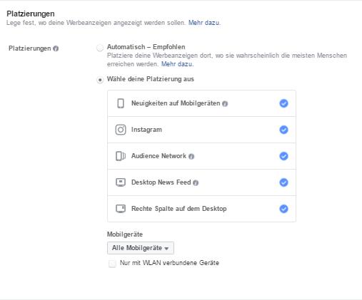 Facebook Platzierungen