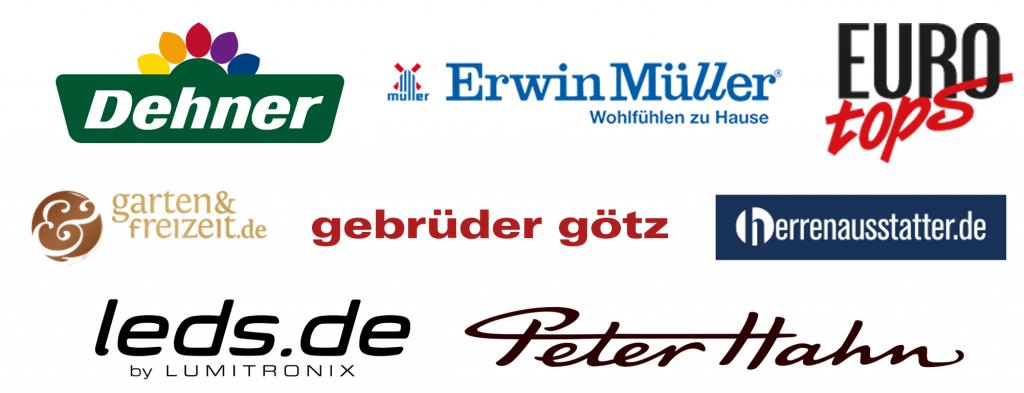 Dehner | Erwin Müller | EUROtops | garten&freizeit.de | gebrüder götz | herrenausstatter.de | LEDs.de | Peter Hahn