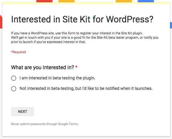 Anmeldeformular Site-Kit
