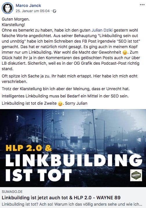 Facebook-Beitrag Marco Janck