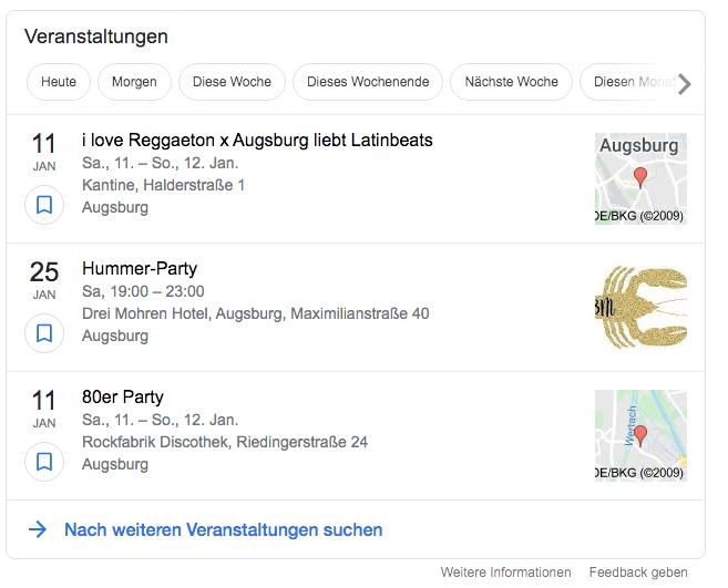 Veranstaltungen in der Google Suche