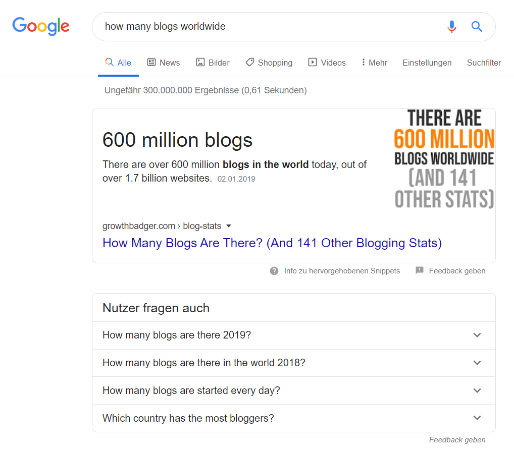 Beispiel 1: How many Blogs worldwide?
